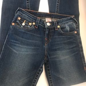 Girls True Religion Joey Dark Flare Jeans Sz 14